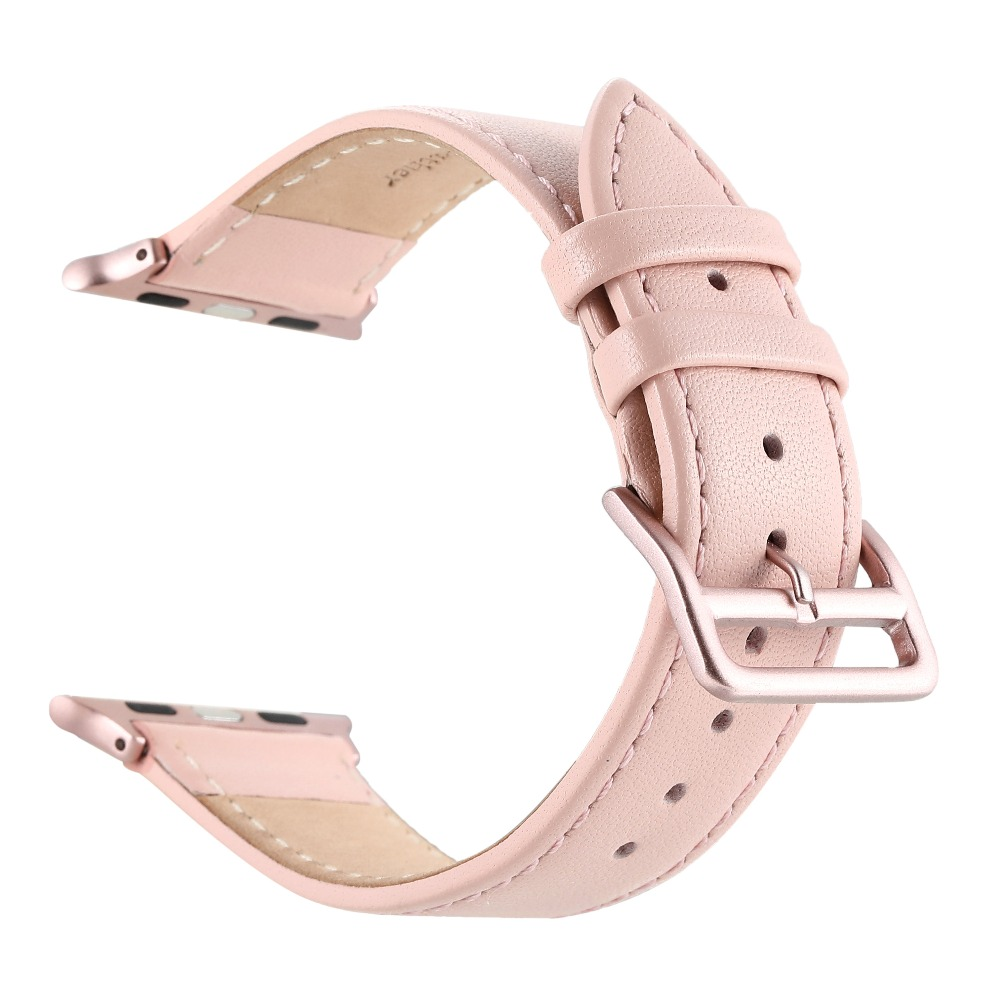 Classical Genuine  Leather Pink Watch Band for Apple Watch I Watch 38mm&42mm Rose Gold adapter & Pink adapter аксессуар браслет apple watch 42mm apres m l pink sand