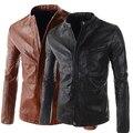 Черный коричневый корейский осень весна круг воротник кожа пальто приталенный для мужчин пилот куртки человек из молодежи 2XL