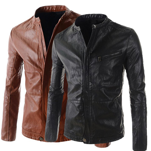 Black brown Korean autumn spring round collar cheap font b leather b font coats slim for