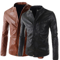 Black brown Korean autumn spring round collar cheap leather coats slim for the mens pilot jackets man of quality youth 2XL