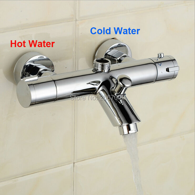 Free Shipping Modern solid brass chrome wall mounted bathroom thermostatic shower bathtub faucet China torneira ZR956