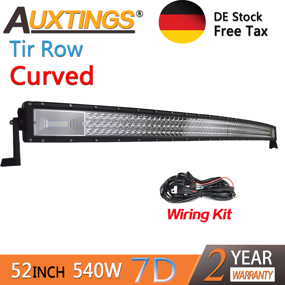 Auxtings 52inch 675w Curved 3-rows Movable Bracket IP67 Waterproof High Power High Lumens Tri Rows 52''7D LED Light Bar Offroad