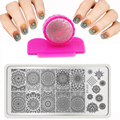 6X12cm Hot Fashion Nail Stamping PLates Set Plates Accessories Lace Stainles Nail Art Templates + DIY Stamper + 1 Scraper Beauty