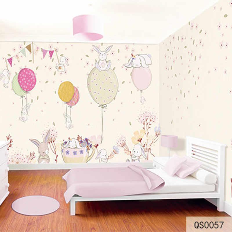 בד מותאם אישית & Wallcoverings טקסטיל קירות בד קטיפה כותנה ופשתן בלון ארנב מצויר לילדים חדר מיטת ילד למעלה