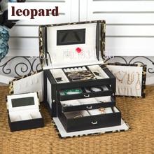 Envío gratis versión actualizada de cuatro Collar Colgante Pendientes de exhibición de la joyería caja de joyería de cuero de lujo Caja de Regalo