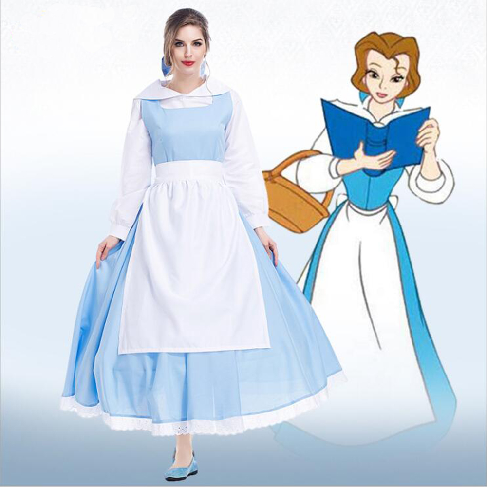 White apron belle - Movie Beauty And The Beast Princess Belle Blue Maid Apron Dress Cosplay Costume Servant Dress