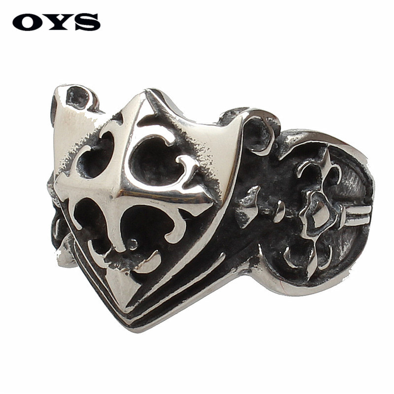 New Arrival Men Vintage Jewelry Stainless Titanium Steel Finger Ring Cross Shields Rings Accessories Man Personality Gifts