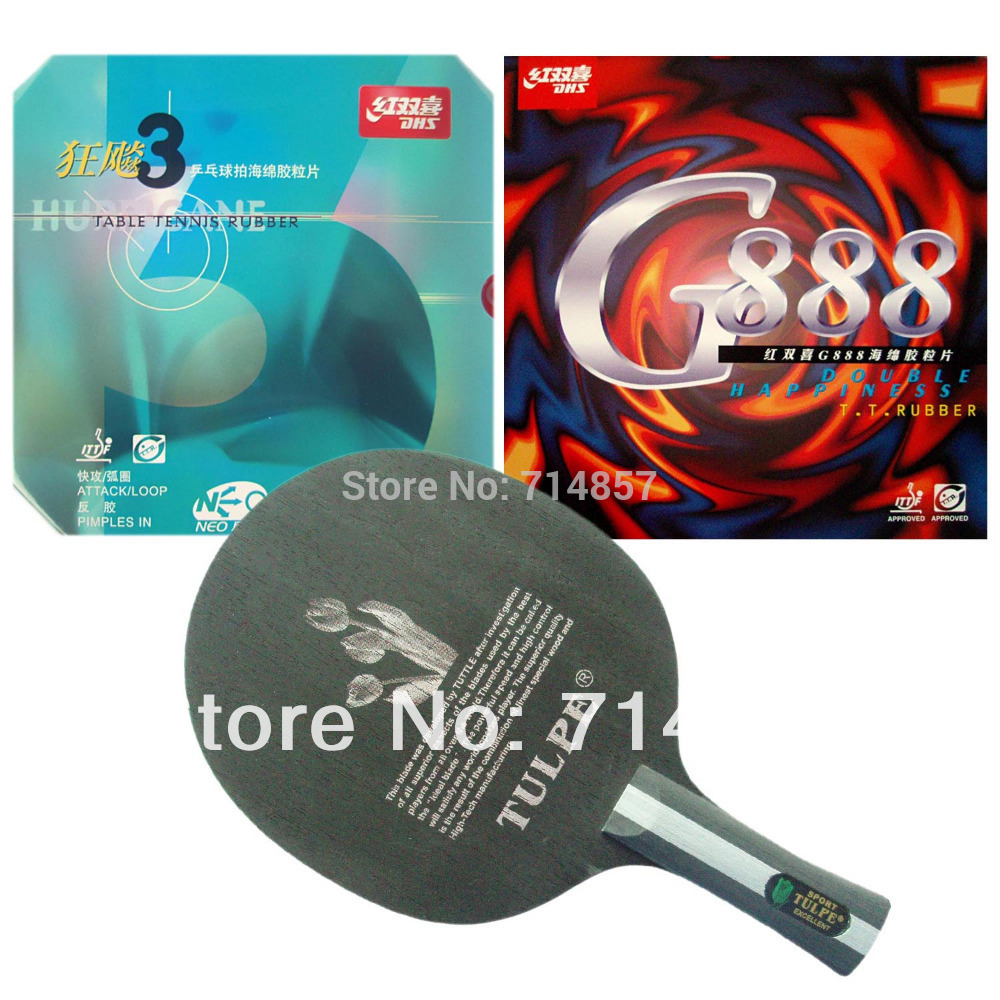 Kokutaku TULPE T-703 shakehand blade with DHS G888 and NEO Hurricane3 rubbers sponge a table tennis racket Long Shakehand FL hrt 2091 blade dhs neo hurricane3 and milky way 9000e rubber with sponge for a table tennis racket shakehand long handle fl