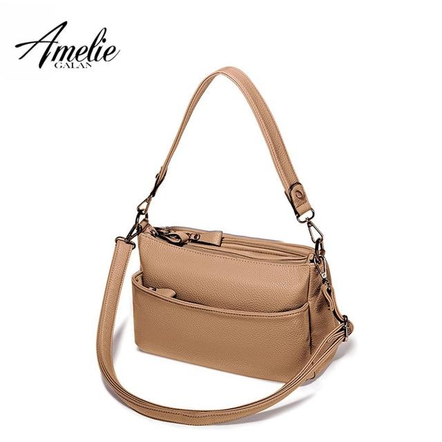 AMELIE GALANTI Casual Women Bag Solid Color Multifunction Versatile Fashion Soft Shoulder Bag Zipper Long Straps Women Handbags