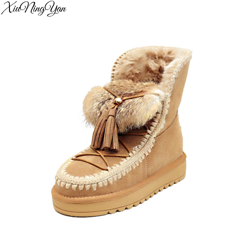 все цены на Xiuningyan High Quality Genuine Leather Shoes Woman Real Fur 100% Wool Women Winter Snow Boots Snow Shoes boots women K6901/15