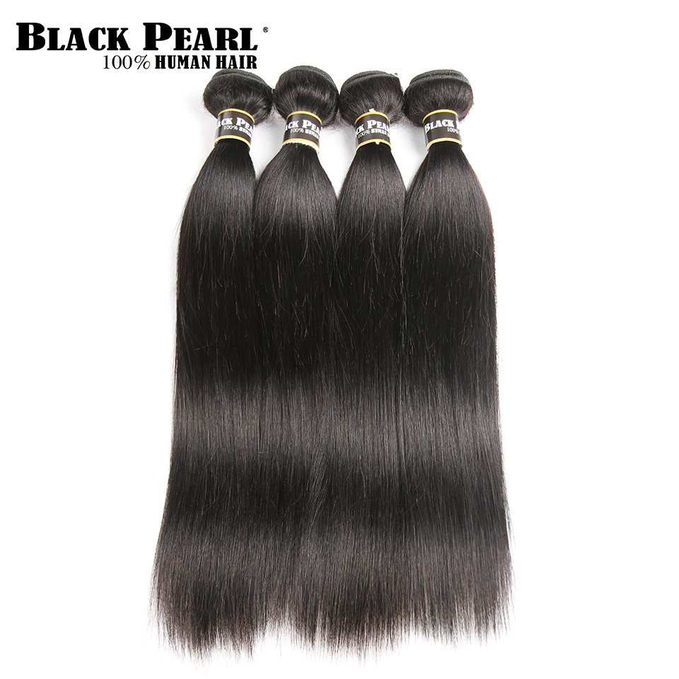 Black Pearl Pre Colored Human Hair Bundles Peruvian Straight Hair Weave 4 Bundles Hair Extensions 400g