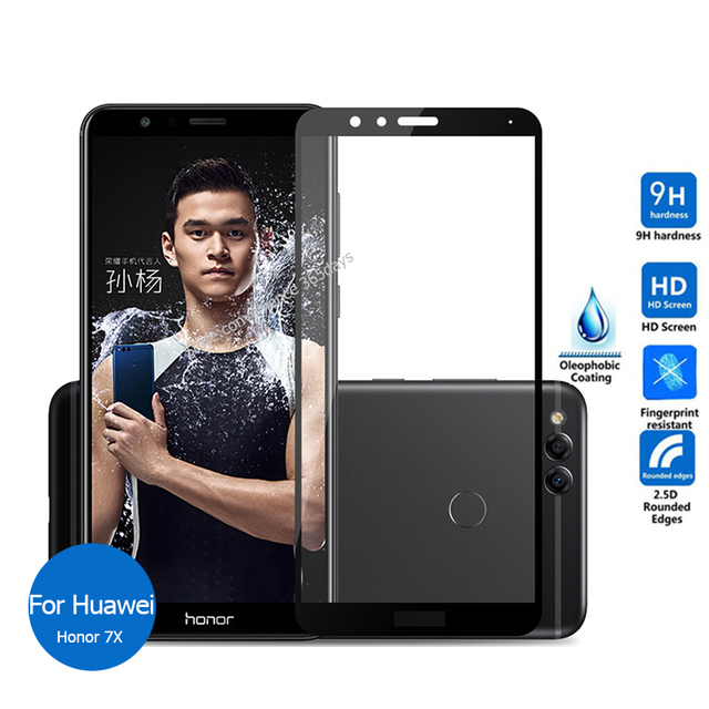 new product 8db6c f6cab For Huawei Honor 7X Full Cover Tempered Glass Screen Protector 9h All Body  Safety Glass Film On Honor7X 7 X BND-L21 BND-L24