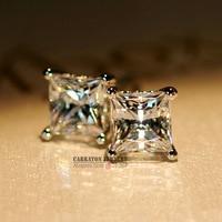 KLTE003 Trendy Men Women Square Crystal Genuine 925 Sterling Silver 5mm 6mm 7mm 8mm 4 Claw