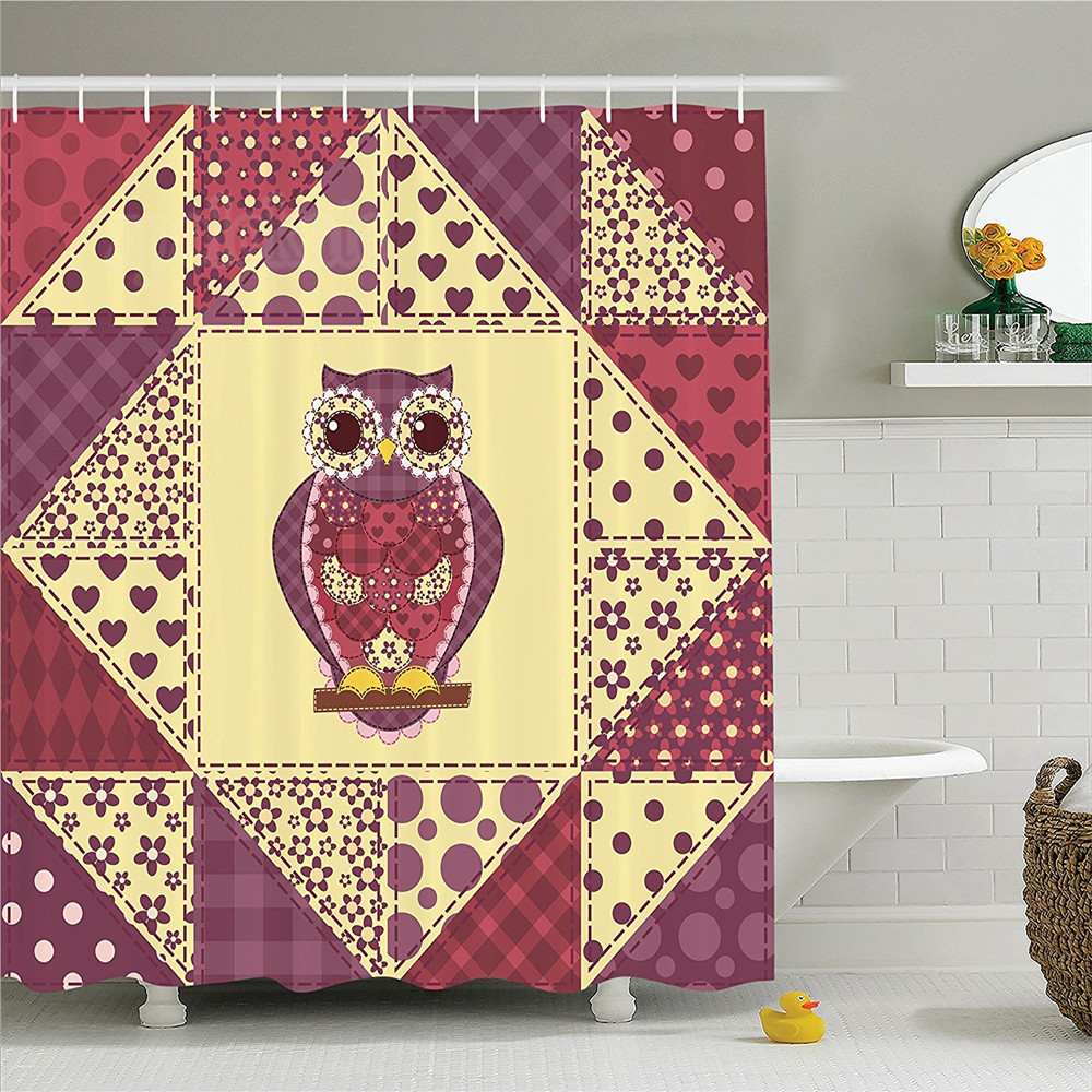 Owls Home Decor Shower Curtain Set Vintage Inspired Owl Pattern Invisible To Prey Nocturnal Mimicking Predator Bathroom Accessor