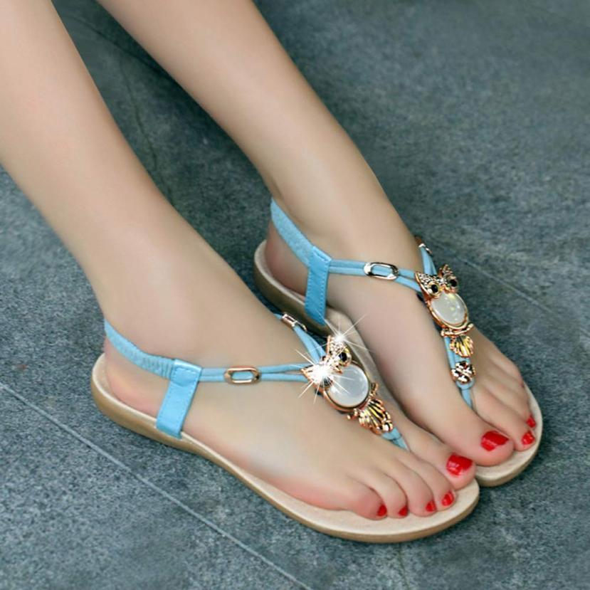 kai yunon 2016 New Korean Style Women Rhinestone Owl Sweet Sandals Clip Toe Sandals Beach Shoes