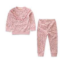 Emmababy  2Pcs Toddler Baby Girl Dot Ruffle  2018 Autumn Casual O-Neck Long Sleeve Top  Clothes Pants Outfit