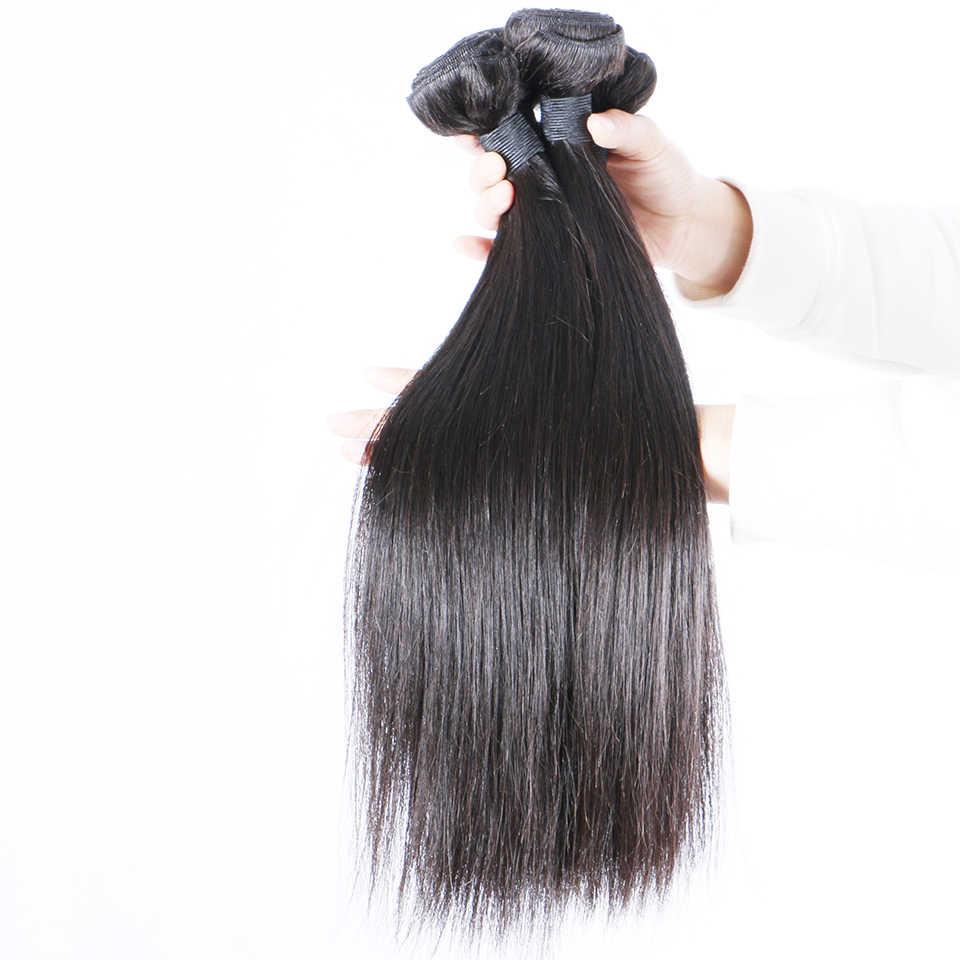 Brazilian Straight Hair Bundles Natural Human Hair Weave Extensions Single  Bundle Free Ship Brenda non Remy Hair Thick & Full