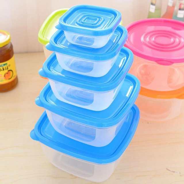 Online Shop 5pcs Plastic Food Storage Containers Box Set Fresh