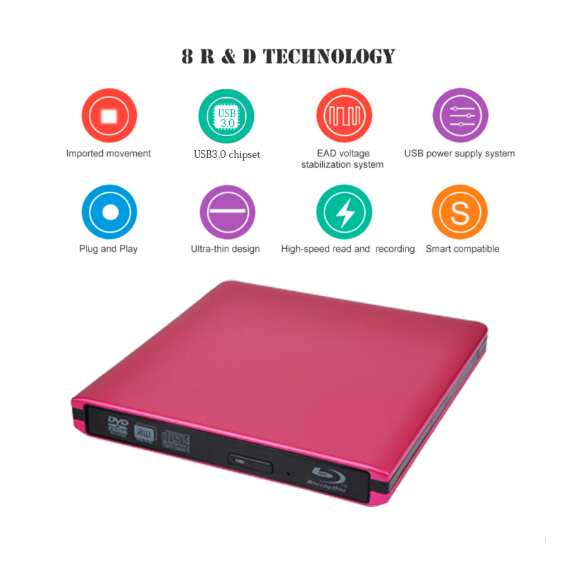 ABS External USB3.0 Blu-ray Drive DVD Burner 3D Bluray Player DVD Drive BD-ROM DVD-RW Burner Writer For Macbook Laptop PC