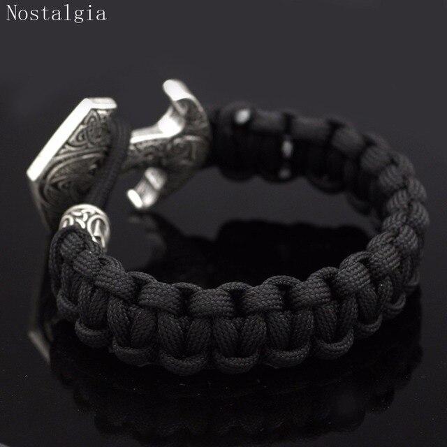 Nostalgia Odin Raven Vikingos Thor Hammer Mjolnir Triskele Trinity Viking Jewelry Bracelet Valknut Vegvisir Rune Slavic Vikinga 3