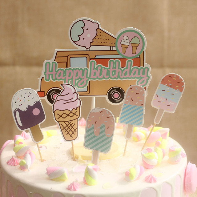 Hot Selling Summer Style Birthday Cake Decoration Party Dessert Table DIY Baking Ice Cream Car Plug In Flag