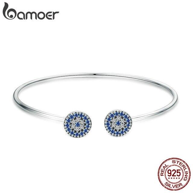 BAMOER 2018 New 100% 925 Sterling Silver Lucky Blue Eyes Blue CZ Women Open Cuff