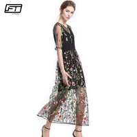 Fitaylor 2018 Summer Mesh Embroidery Floral Long Dress Women Vestidos Plus Size Bodycon Backless Sexy Dres Vintage Party Dresses