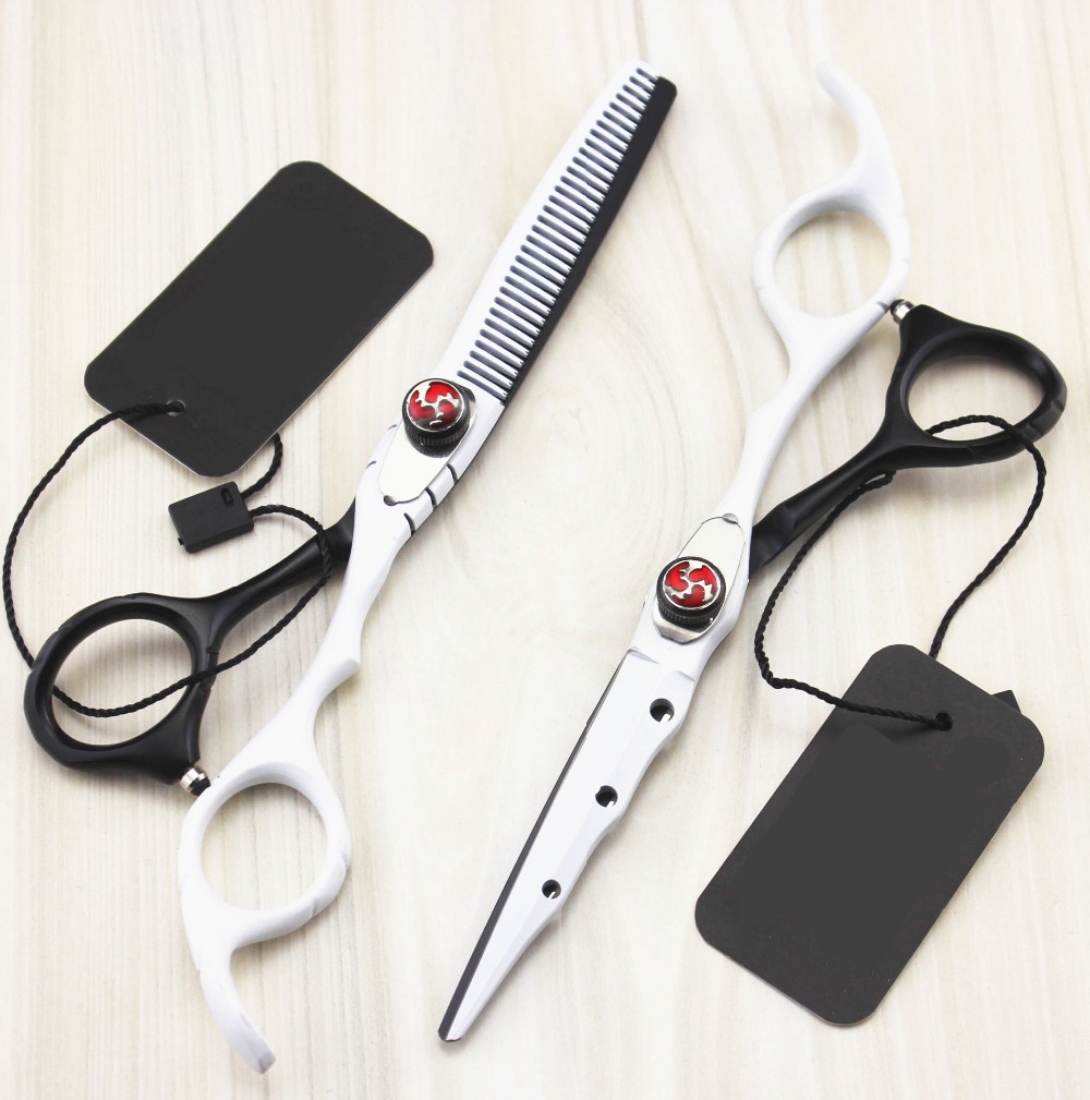 Custom Japan 440c alloy white Piano paint cutting barber makas thinning scisor cut hair scissor shears