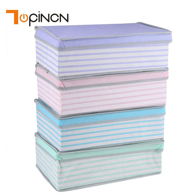 Non Woven Fabric Storage Box Bag Foldabe Case Container Clothes Socks Underwear Organizer With Dust Cover