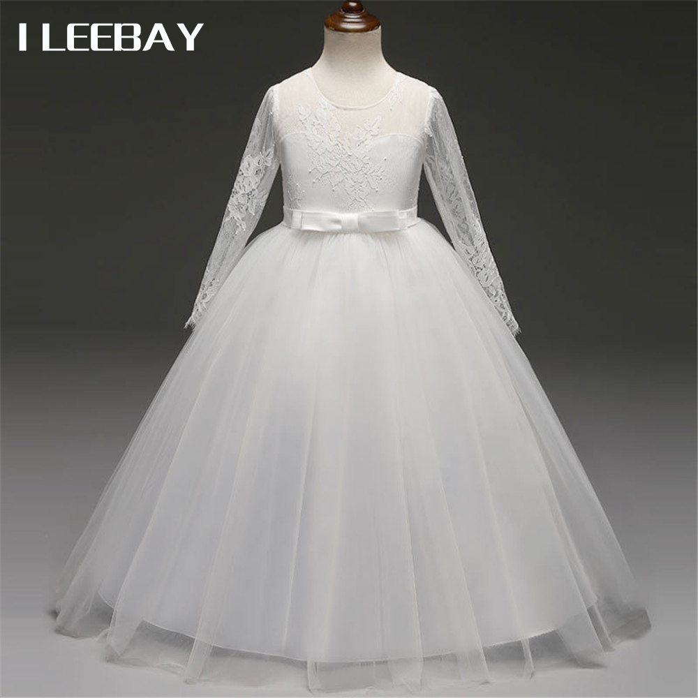 Flower Girl Wedding Party Dresses Bridesmaid Vestidos Kids Girls Evening Long Dress Children Tulle Tutu Costume Princess Clothes