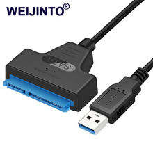 WEIJINTO USB3.0 to sata3 Adapter Cable Converter 22 pin For 2.5 inch HDD SSD Hard Disk SATA III Adapter Cable USB 3.0 to SATAIII