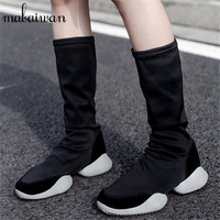 Fashion Black Women Stretch Sock Boots Platform Mid Calf Booties Slip On Elastic Slim Fit Bota