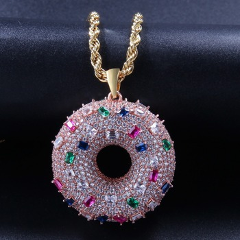 New Design Fashion Cubic Zirconia Donut Necklace Women Men Hip Hop AAA CZ Stone Bling Iced Out Round Pendants Necklace Jewelry