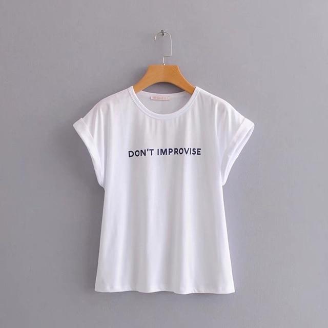 f8697485a Camiseta informal de algodón con estampado de letras blancas Kawaii para  mujer arcoíris Harajuku Poleras coreana