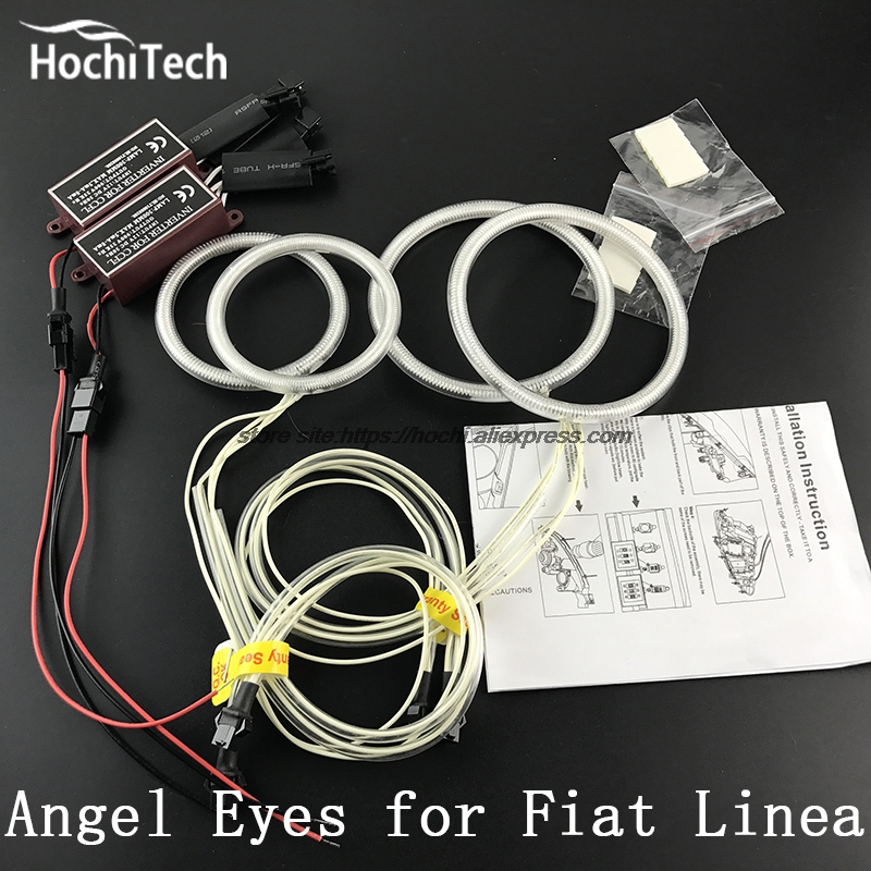 цена на HochiTech Excellent CCFL Angel Eyes Kit Ultra bright headlight illumination for Fiat Linea 2007 2008 2009 2010 2011 2012 - 2015