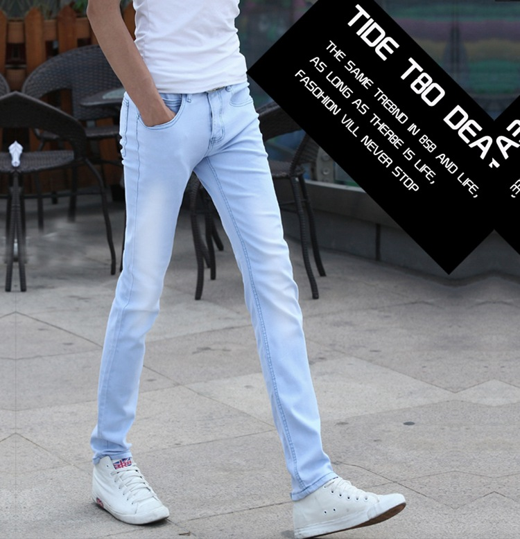 Aliexpress 2016 summer new England influx men hot sale Youth popular Slim bleach Business Leisure men's jeans Cheap wholesale