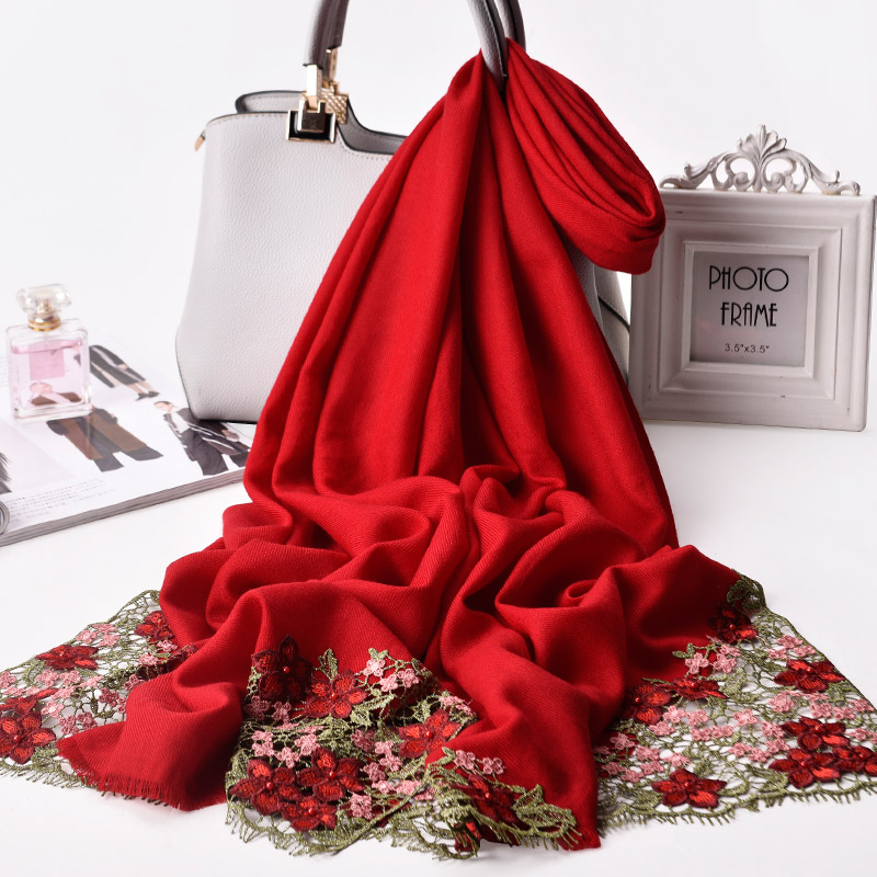 Women 100 Wool Scarf 2019 Luxury Shawls and Wraps for Ladies New Flower Embroidery Scarves Muffler