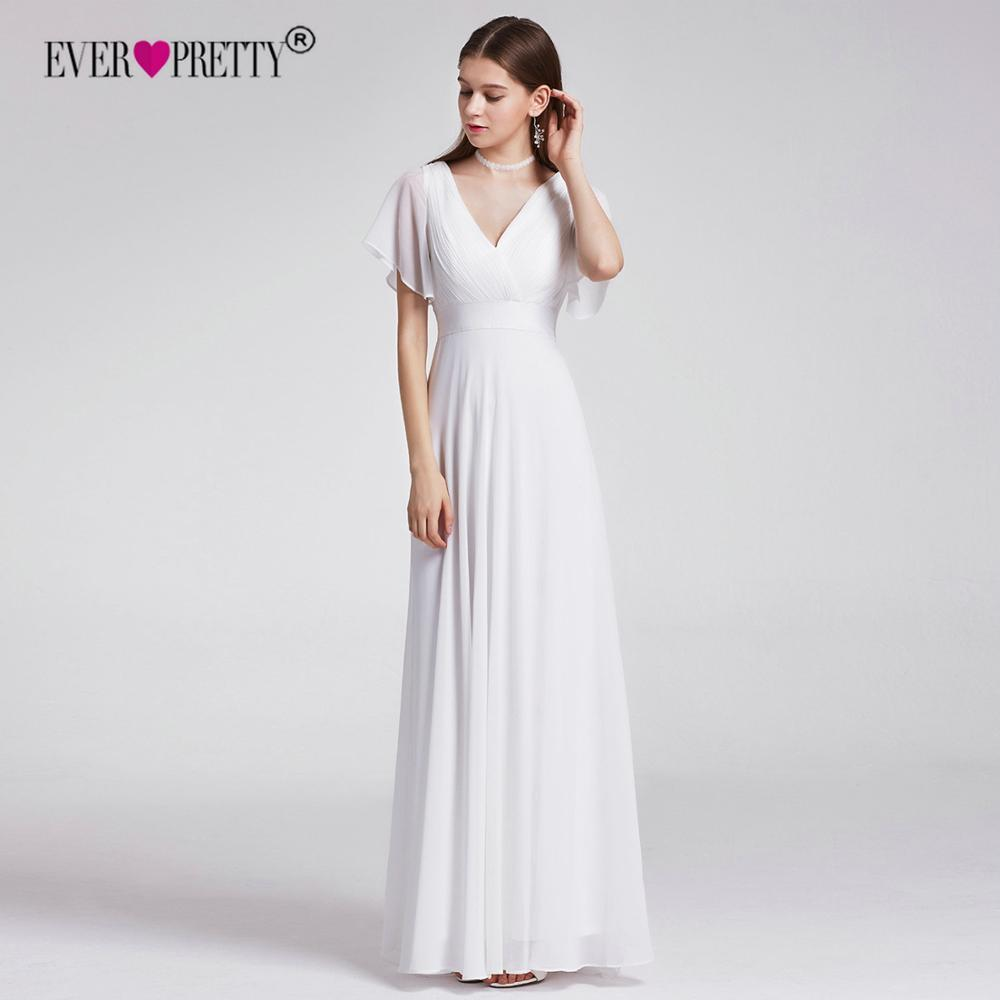 74087b6ca5 US $32.98 30% OFF|Plus Size Wedding Dress 2019 Ever Pretty Beach Simple A  line Chiffon White Robe De Mariee Elegant V neck Vestido De Noiva-in  Wedding ...