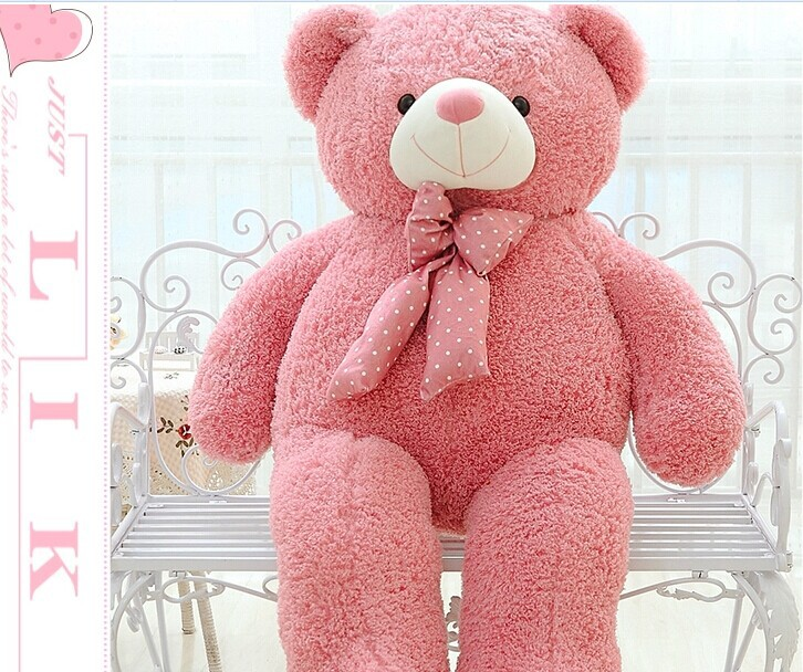 купить big lovely pink teddy bear doll candy colours teddy bear with spots bow plush toy doll birthday gift about 120cm недорого