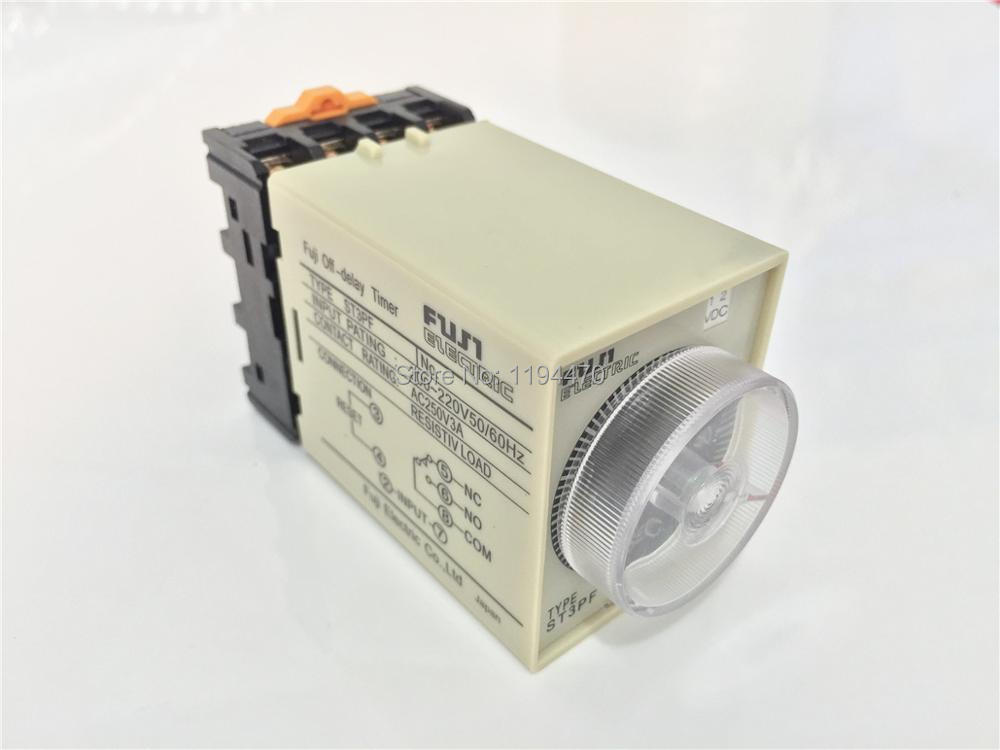 цена на 1 set/Lot ST3PF AC 220V 3Min 180S Power Off Delay Timer Time Relay 220VAC 3min 0-3 minute  8 Pins With PF083A Socket Base