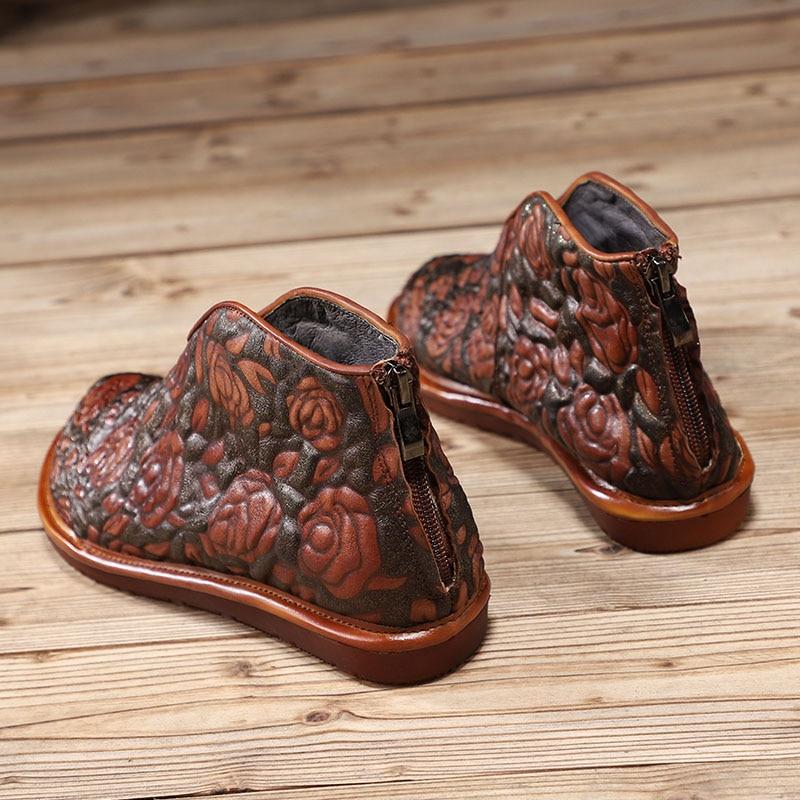 Gaufrage Et Fond Mode Doux Bottes Véritable Femmes Nouveau De Cheville Chaussures Pointu En Plat 2018 D'hiver Coffee Automne Occasionnels Cuir pq6x55z