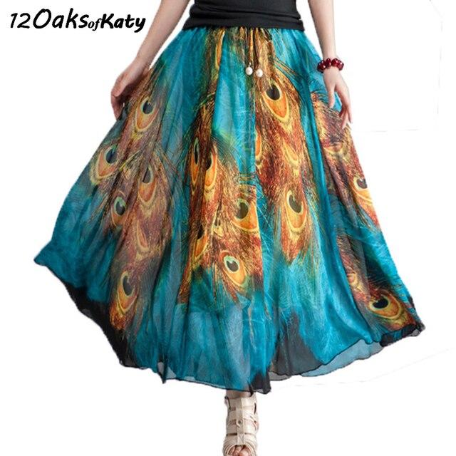 c10190dceb2 Summer New Women Fashion Retro Peacock Feather Print Skirt Pearl Beaded  Sash Bohemia Elastic Waist Long Full Chiffon Skirt