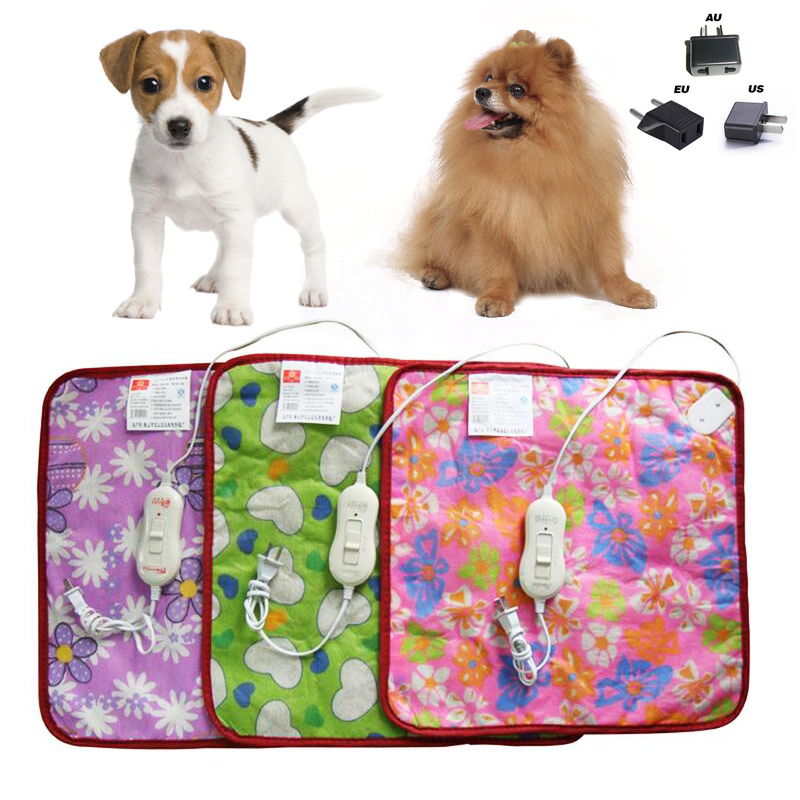 Хит продаж, красочный Электрический коврик для питомцев, котят, 220 В, 18 Вт, коврик с подогревом для кролика, Кровать 40*43 см