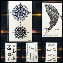 Magic Compass Totem Temporary Tattoo Black Waterproof Henna Tattoo Stickers Mandala Star Fake Flash Tatoo Paste Women Men