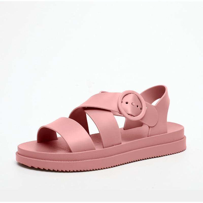 HTB1RswqX79E3KVjSZFGq6A19XXam MCCKLE Flat Sandals Women Shoes Gladiator Open Toe Buckle Soft Jelly Sandals Female Casual Women's Flat Platform Beach Shoes
