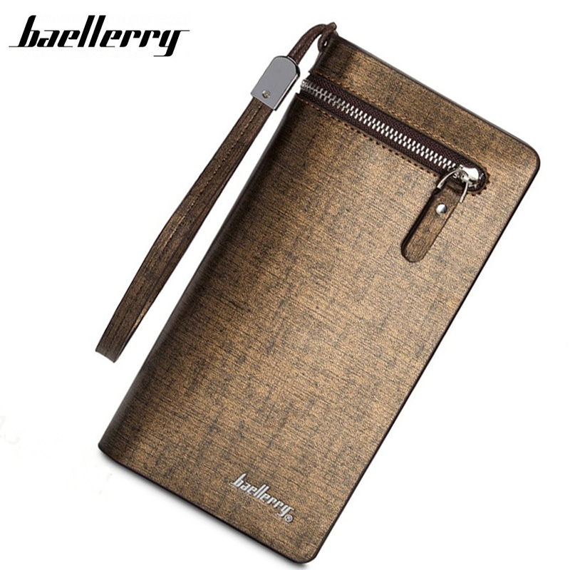 BAELLERRY New Fashion Men Casual Wallet Long Solid Purse Clutch Bag Brand Leather Wallet Design Hand Bags For Men Purse HQB1818 fashion new men wallets baellerry brand male zipper purses long design men clutch bag cowhide card holder wallet for business