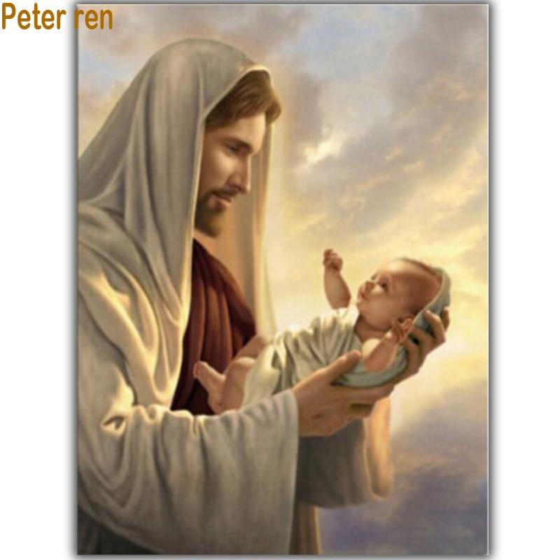 პიტერ რენი ბრილიანტის ნაქარგები რელიგია ალმასის ნახატი იესო ქრისტე კვადრატული ალმასის მოზაიკა rhinestones Picture იესოს ცხოვრება
