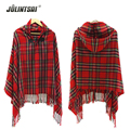 New Women's Autumn Winter Scarves 2016 Bohemian National Wind Hooded Scarf Pashmina Poncho Plaid Cashmere Female Wraps 6 Color