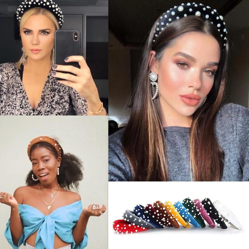 Women Rhinestone Pearl Headband Thick Sponge Velvet Hairband Hair Accessories