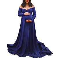 Maternity Sexy Off shoulder V neck Pregnant Women Dress Formal Long Dress
